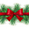 Stock Photo: Red bow with pine border