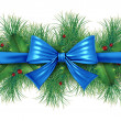 Royalty-Free Stock Photo: Blue bow with pine border