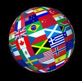 Banderas del mundo global de la esfera — Foto de Stock