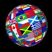 Esfera de bandeiras do mundo global — Fotografia Stock