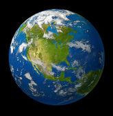 Planète terre mettant en vedette l'Amérique du Nord sur fond noir — Photo