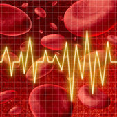 Blood cells with an ekg heart monitor symbol — Stock Photo