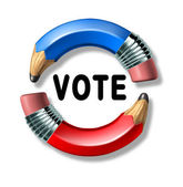 Vote symbol with curved pencils — Stock Photo