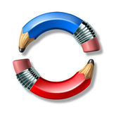 Blue and red pencil symbol — Stock Photo