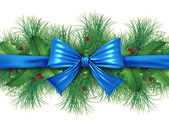Blue bow with pine border — Stock Photo