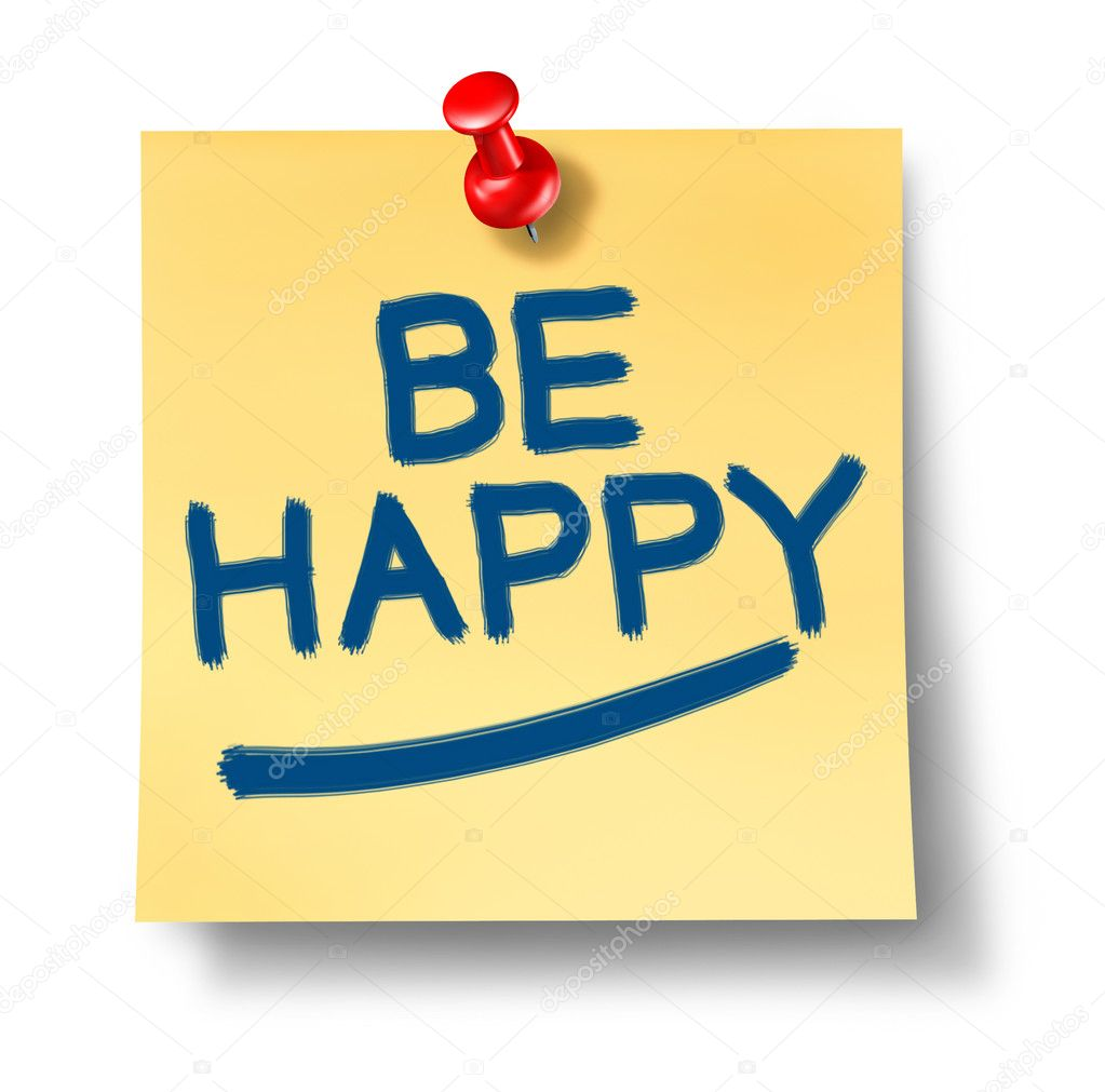 Be Happy yellow office note reminder with a red thumb tack representing the positive concept of happiness and joy in life and business and fighting depression a — Stock Photo #7281301