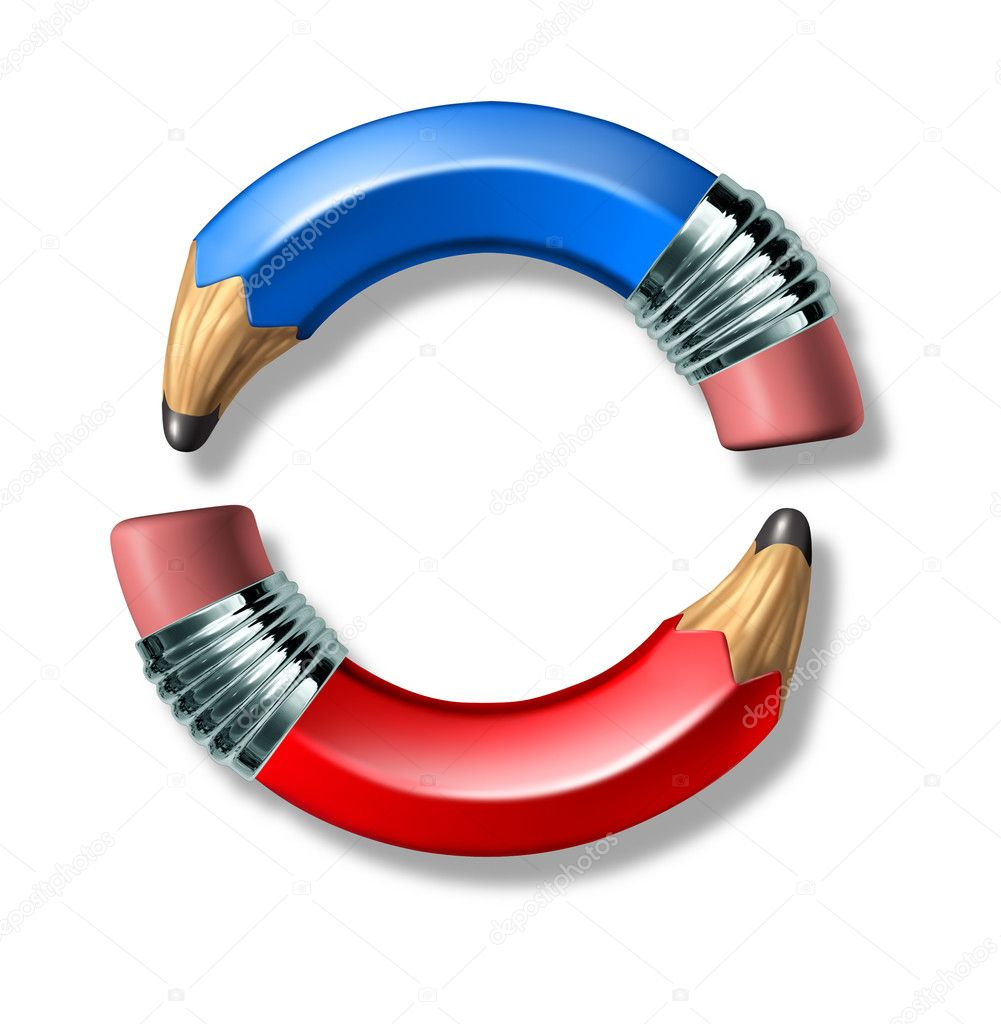 Blue and red curved pencil symbol representing politics and voting on a white background. — Stock Photo #7281573