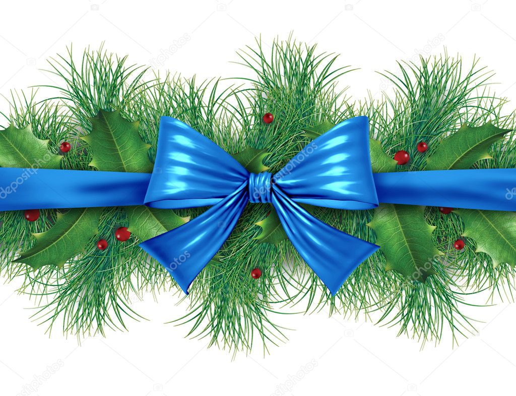 Blue silk bow with pine border ornamental holiday decoration for Christmas festive winter celebration on a white background. — Stock Photo #7282058