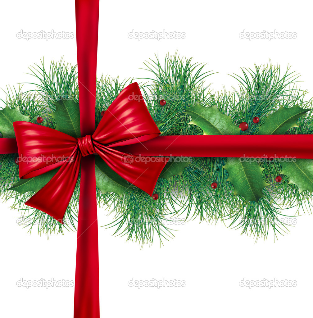 Red silk gift bow with pine border ornamental holiday decoration for Christmas festive winter celebration on a white background representing a decorative season — Stock Photo #7812055