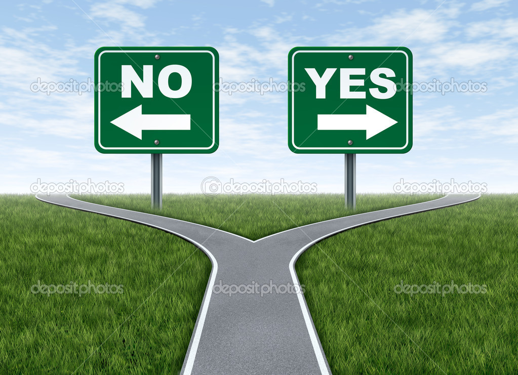 Yes or no decision symbol represented by a forked road with a road sign saying yes and another saying no with arrows for turning in the direction that is chosen — Stock Photo #7812087