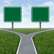 Two options with blank road signs — Stock Photo
