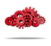 Cloud computing with red gears and cogs — Stock Photo