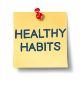 Healthy habits office notes — Stock Photo