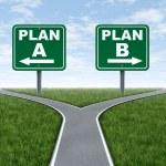 croisée des chemins avec la signalisation routière plan un plan b — Photo