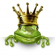 Frog prince with gold crown holding a blank sign — Stock Photo #7851427