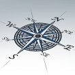 Compass rose in perspective on white background — Stock Photo