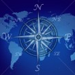 Map of the world with compass — Stock Photo