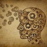 Human brain function grunge with gears — Stock Photo