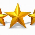 Золотая звезда Рейтинг с пяти золотых звезд — Стоковое фото