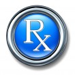 Prescription rx blue buton - Stock Photo