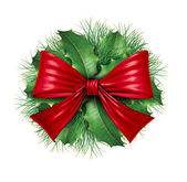 Red bow with pine circle decoration — Stock Photo