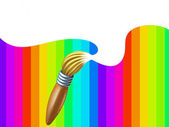 Art brush with rainbow with white blank area — Stock Photo