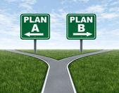 Kreuzung mit plan einen plan-b-verkehrszeichen — Stockfoto