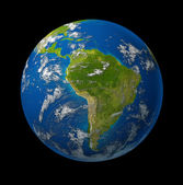South America earth globe planet on black — Stock Photo