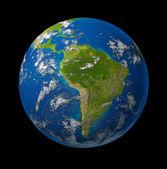 South America earth globe planet on black — Stock Photo