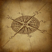 Compass rose in perspective with grunge texture — Photo