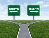 Costs and benefits — 图库照片