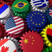 Global economy machine with U.S.A and Europe in the center — Stock Photo