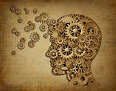 Human brain function grunge with gears — Stock Photo