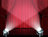 Spotlights on red velvet cinema curtains — Stock Photo