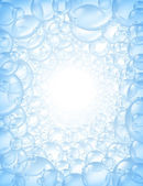 Burbujas de fondo en perspectiva con resplandor centro — Foto de Stock