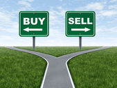 Buy and sell decision dilemma crossroads — Stock Photo