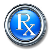 Prescription rx blue buton — Stock Photo