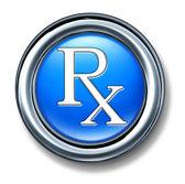 Prescription rx blue buton — Stock Photo