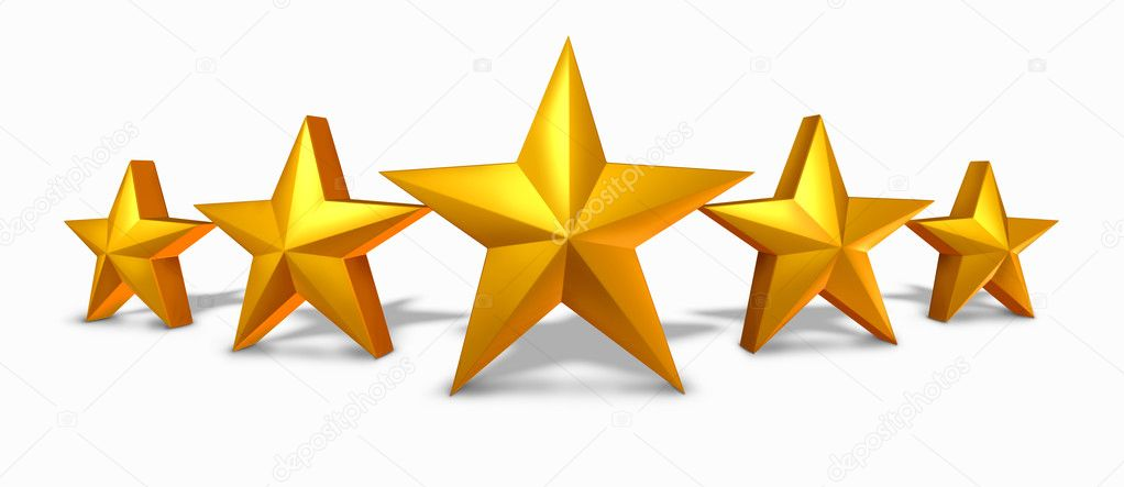 Gold star rating with five golden stars stock photo for Numero parlamentari 5 stelle