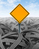 Challenges symbol with blank road sign — Stock Photo