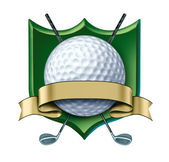 Golf Award crest with blank gold label — Stock Photo