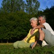 Senior couple relaxing in nature — Stockfoto