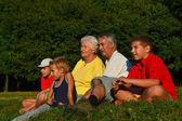 Grandparents and grandchildren together — Stock Photo