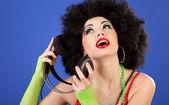 Disco girl with headphones — Stock Photo
