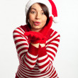 Portrait of beautiful sexy girl wearing Santa clothes — Stock Photo #7539211
