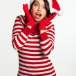 Portrait of beautiful sexy girl wearing Santa clothes — Stock Photo