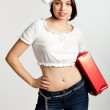 Portrait of beautiful sexy girl wearing Santa clothes — Stock Photo #7539314
