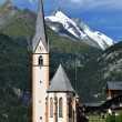 Stock Photo: Heiligenblut church and Grossglockner mountain, Austria
