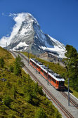 Gornergrat train and Matterhorn. Switzerland — Stock Photo