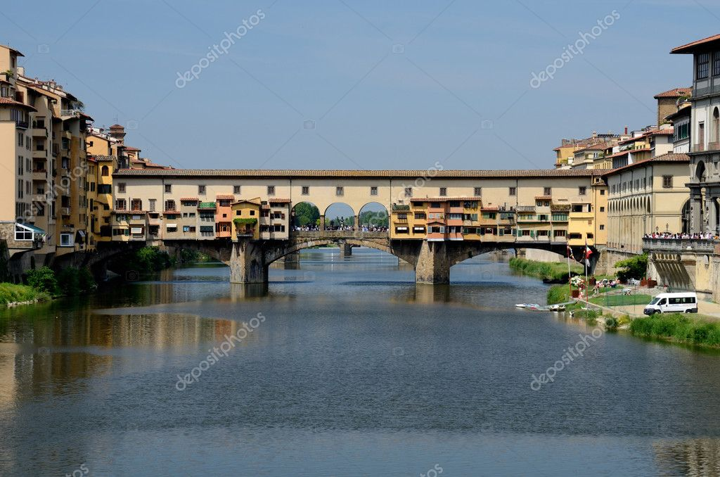 Ponte Vecchio, medieval bridge over Arno river having shops built along it, Florence, Tuscany  Stock Photo #7263763
